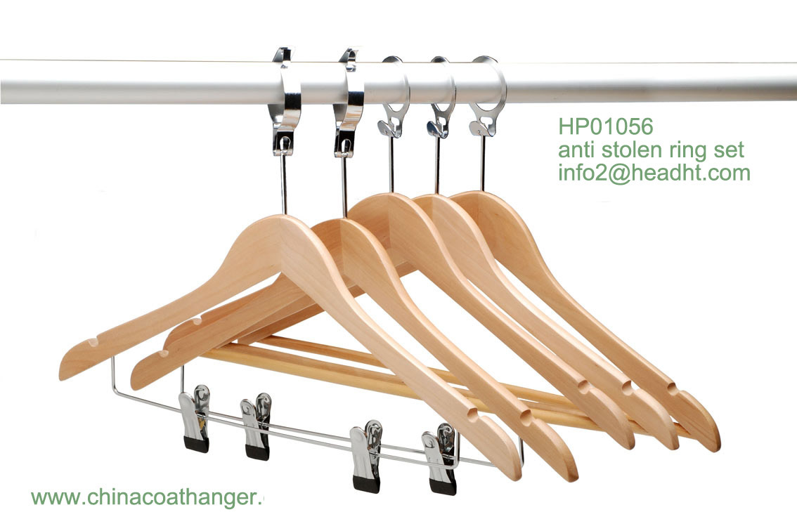 Anti-Stolen Hanger with Bar, Multifunctional Wooden Clothes Hangers, Bottom Hanger for Pants
