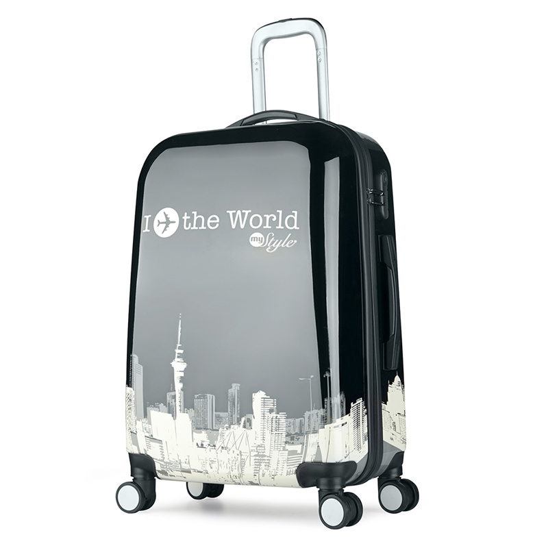 3 Pieces Set Black Hard Plastic Trolley ABS Suitcase Luggage