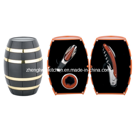 Oak Barrel Shaped Wine Gift Set (608012-B)
