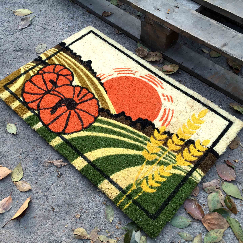 Factory Supplier Direct Beautiful Colorful Cocos Fiber Sublimation Printed Scrapper Indoor Outdoor Coir Coco Fibers Coconut Door Mats