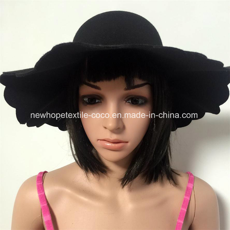 Fashion Large Brim Fake Wool Fedora or Floppy Hat with Ribbon