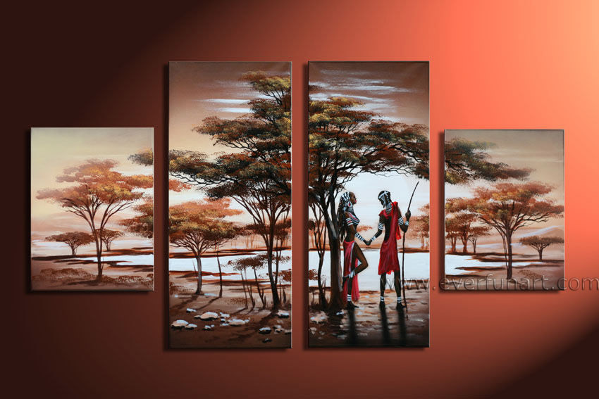 China 100 Handmade Black African Painting Wall Decor Art On Canvas