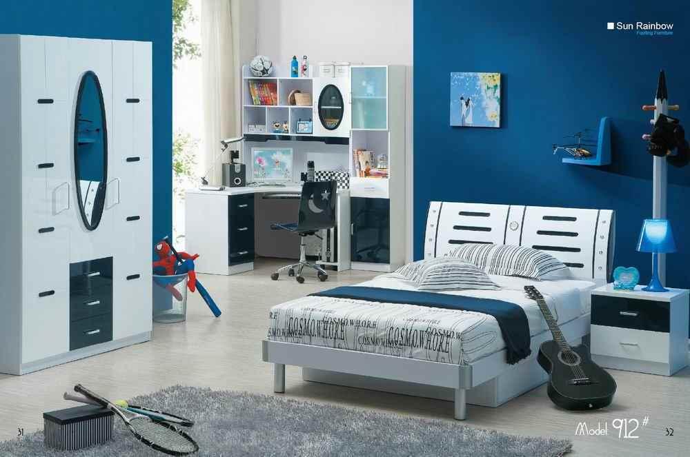 Cuisine Moderne Blanche Et Noire :  meubles de chambre à coucher de garçon –Couleur bleue pour des