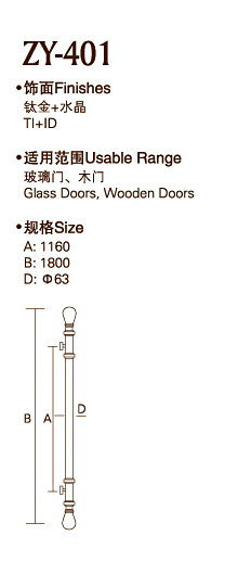 Stainless Steel Gold Color Door Handle (ZY-401)