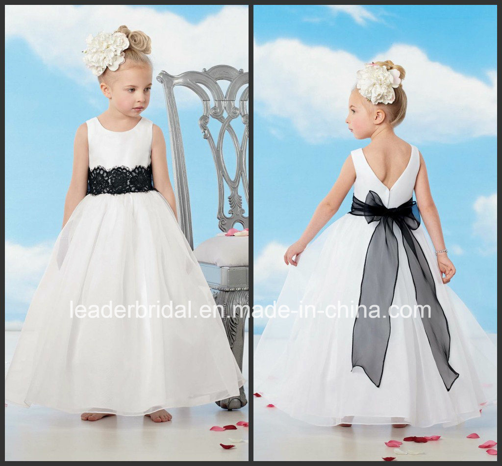China White Organza Black Lace Bow Sash Beginning Flower Girl Dresses B1518 P