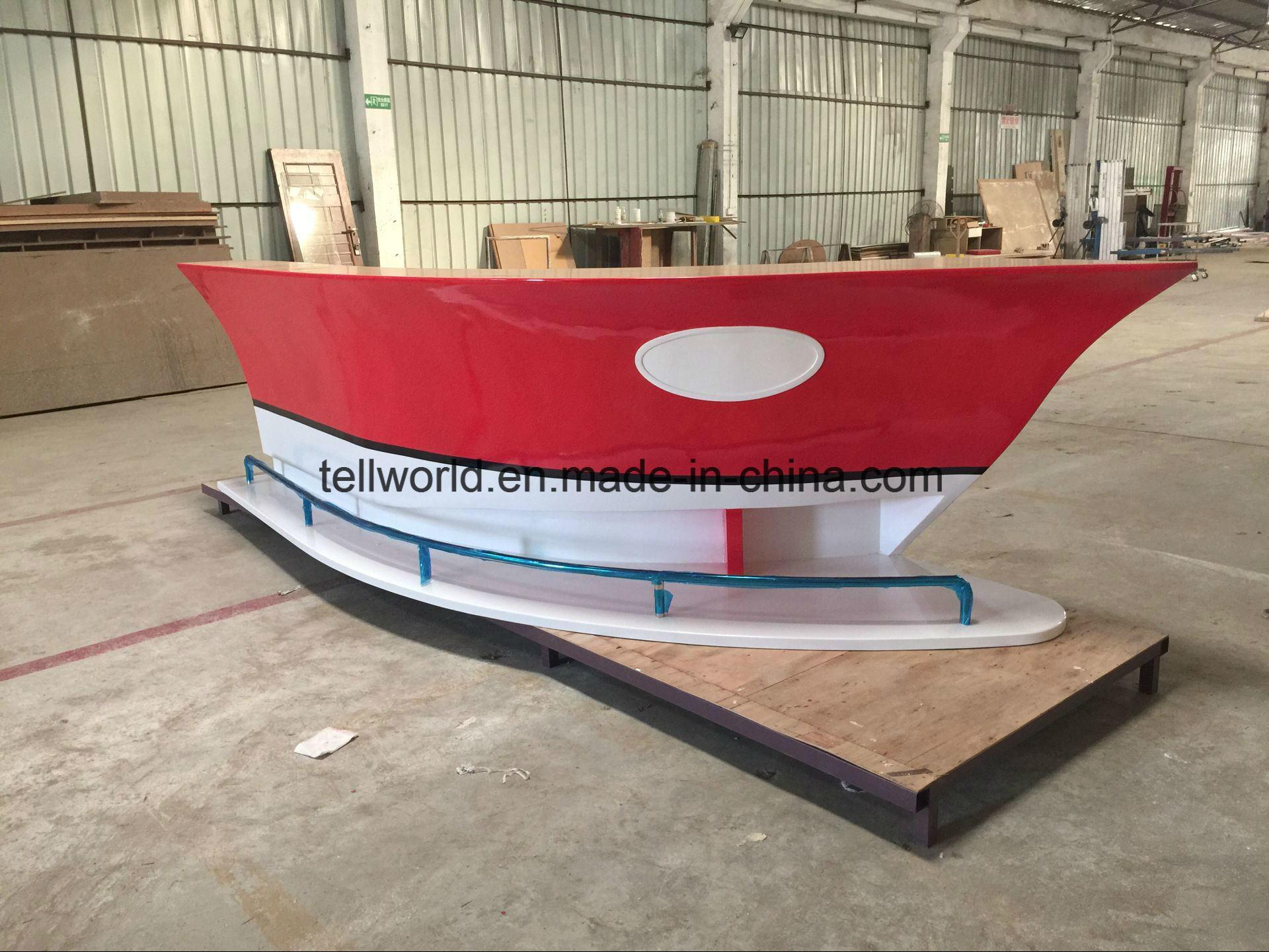 Red Color Boat Shape Reception Desk for Office