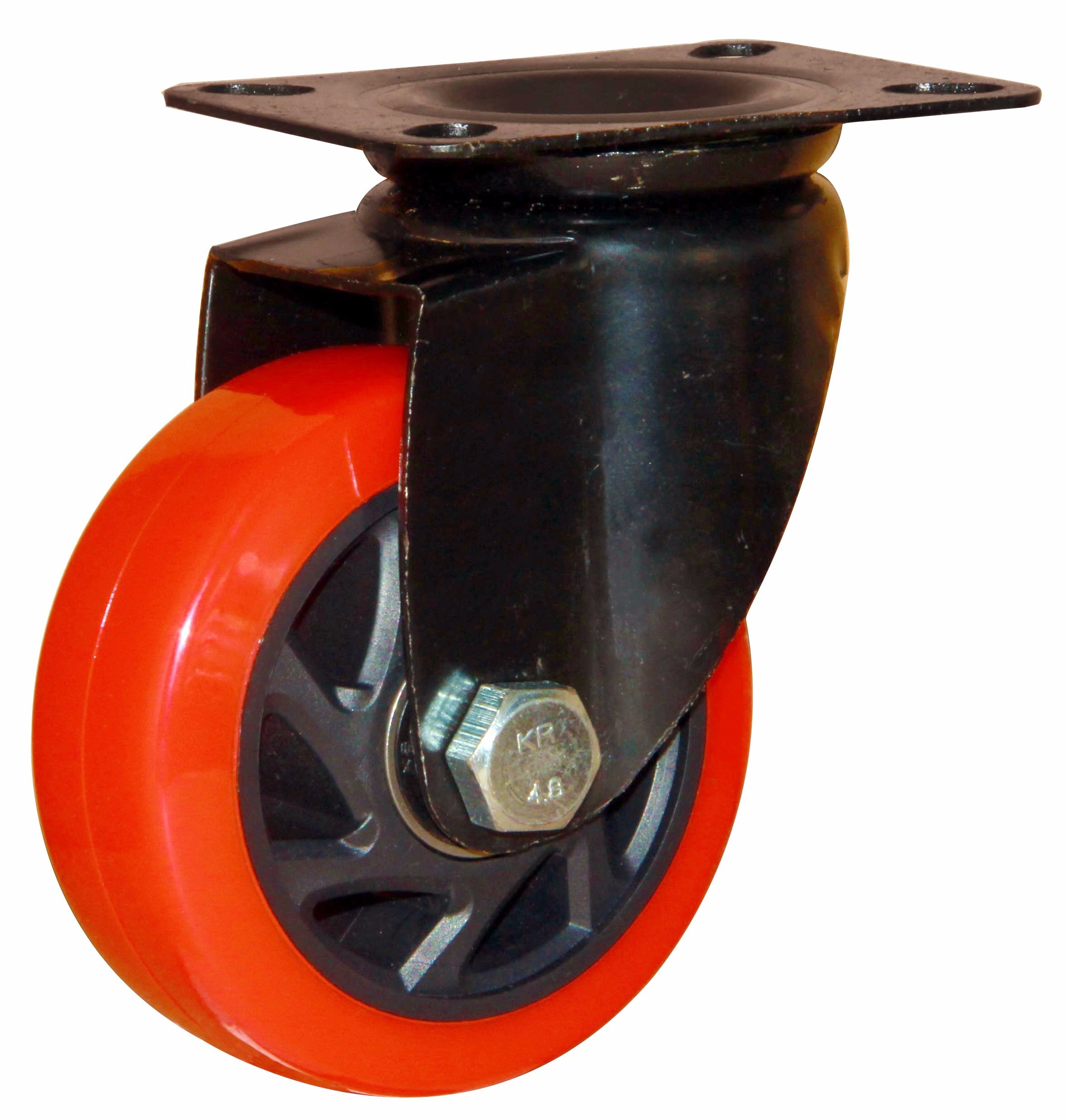 3/4/5 Inch Red Color Swivel PVC Castor PVC Industrial Caster Wheel with E-Coating Bracket