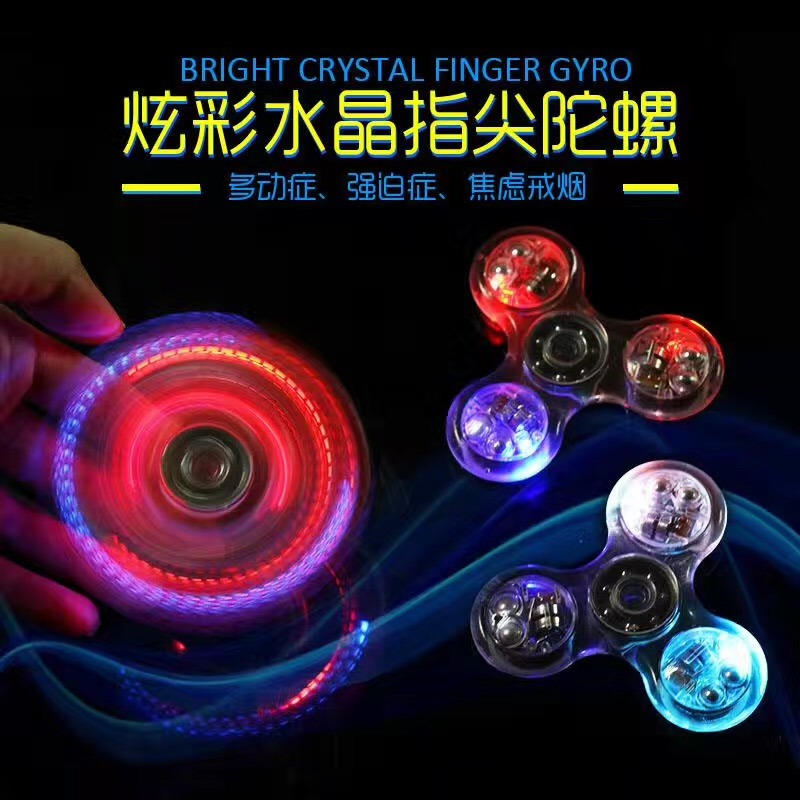 LED and Bluetooth Light Hand Fidget Spinner Glowing Tri Spinner Fidget
