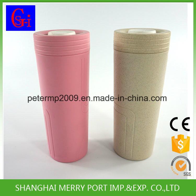 Eco-Friendly 350ml Rice Husks Hull Fiber Coffee Mug Cup with Silicone Lid