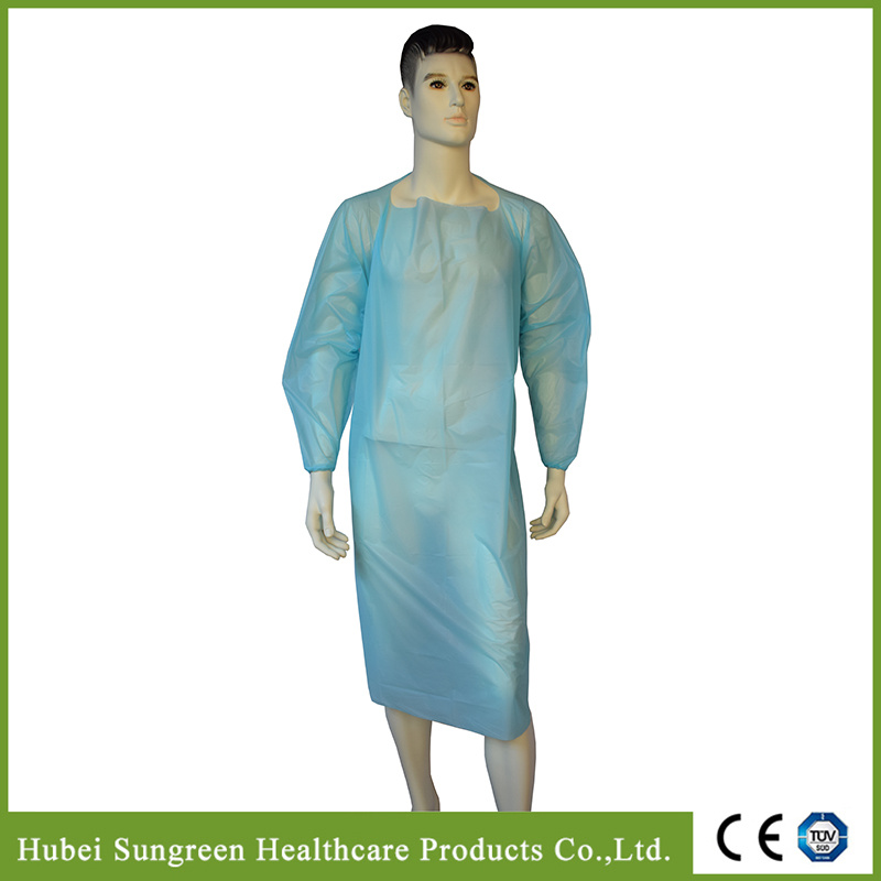 Disposable CPE Gown with Elastic Cuffs for Hygienic Industry Use