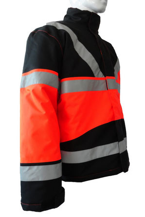 Good Quality Orange Reflective Polyester Taffeta Winter Jacket Short Coverall Work Cloth Workwear Apparel