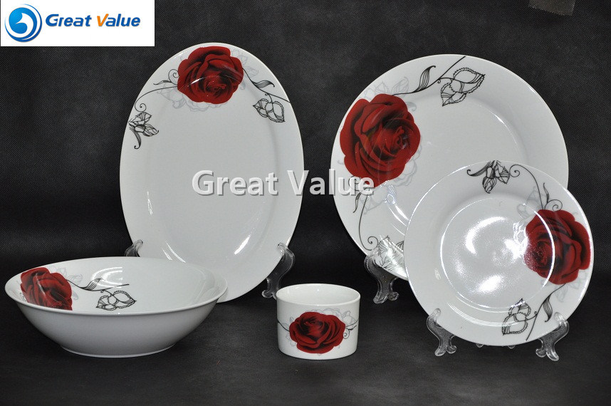 47PCS Red Rose Decal Ceramic Tableware