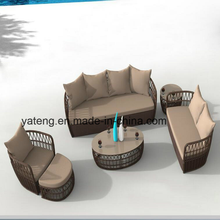 New Design Cheap Outdoor Rattan Patio Furniture Single&Double&Triple Sofa Set with Ottoman & Side Table (YT1055)