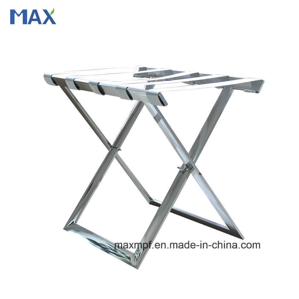 Customization Stainless Steel Folding Flat Tube Luggage Rack for Hotel