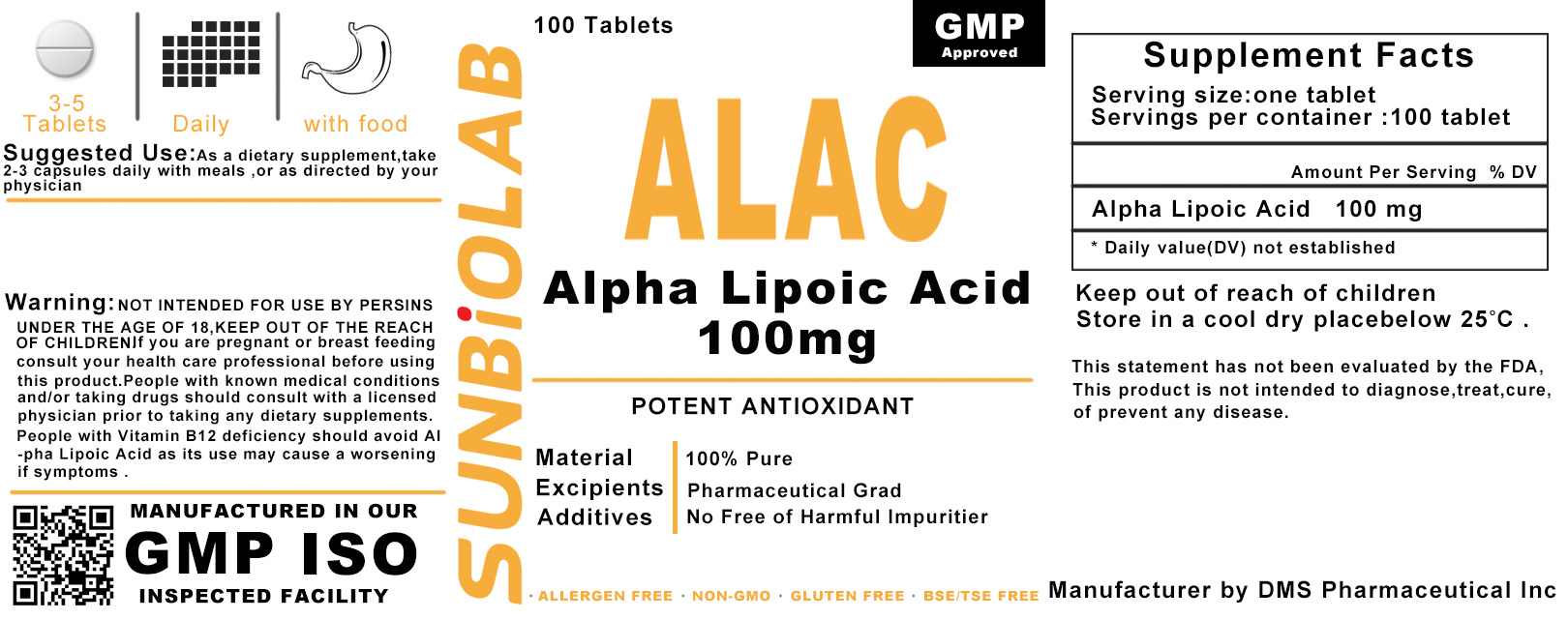 Thioctic Acid (Lipoic Acid) Tablet 100mg GMP Factory