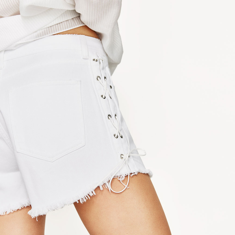 Ladies Fashion Side Bandage Preppy Style Short Pants