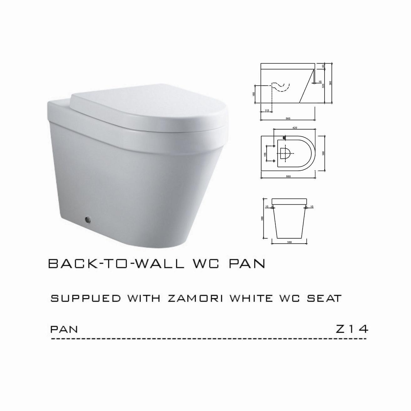 China Wave Back to Wall Pan Z14A China Toilet Wc