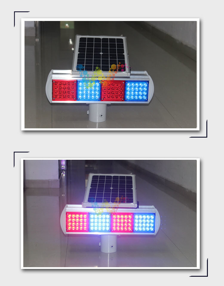 Dual Sides Red Blue Module Traffic Warning Solar Flasing Light