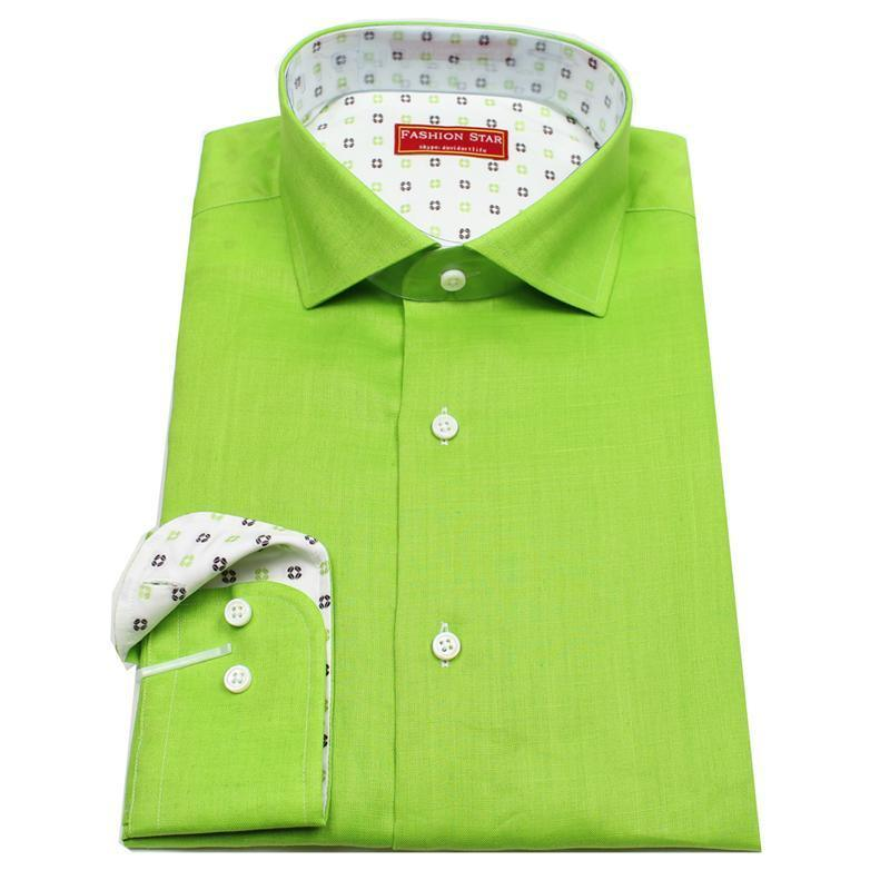 China high quality apple green color 100 linen bespoke for Tailor made dress shirts