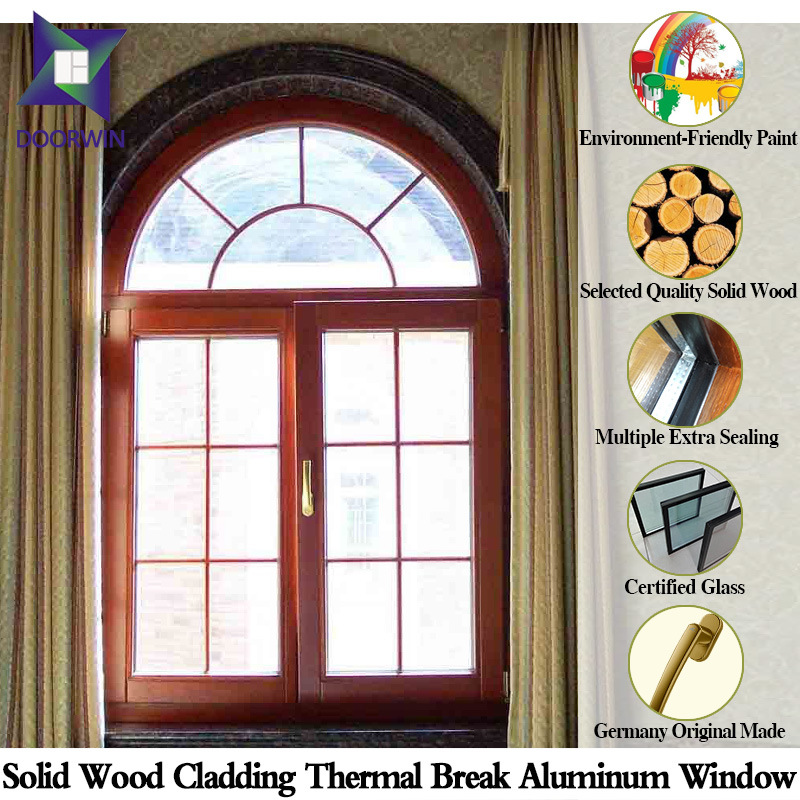 Hand-Carving Arch Design Large Window, Europe Quality Solid Oak/Teak Wood Aluminum Windows for High-End Villa
