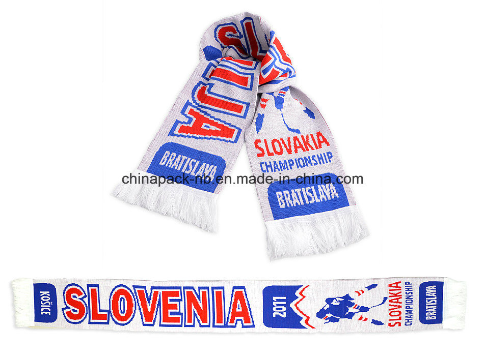 Acrylic Knitted Jacquard Weave Scarf World Ice Hockey Championships (CPAS-1002)
