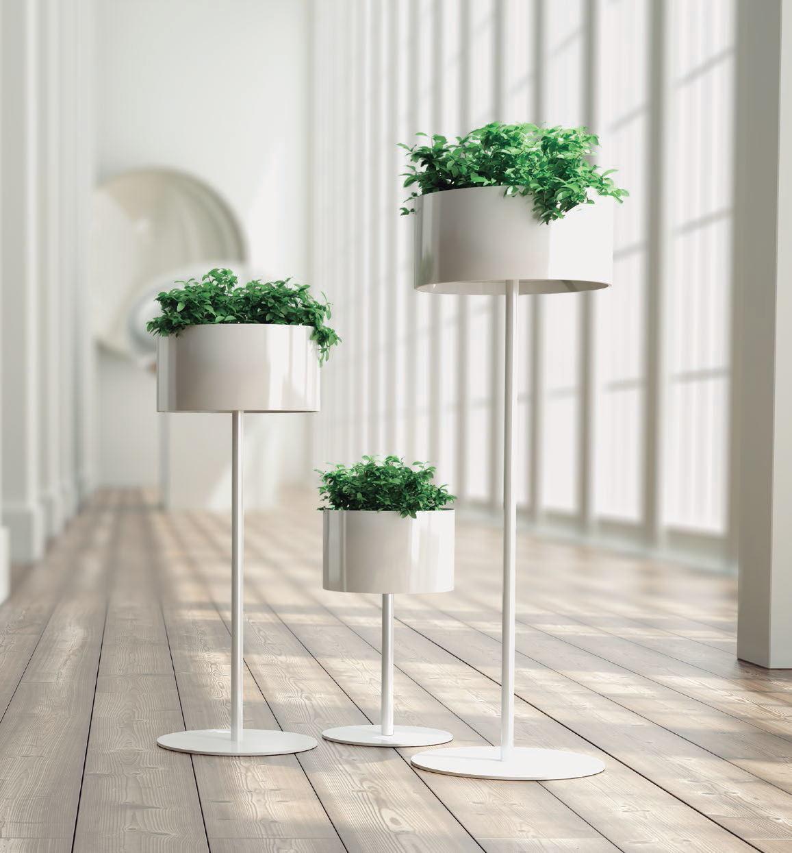 Uispair 100% Steel Floor Round Planter Flower Pot for Modern Office Garden Decoration
