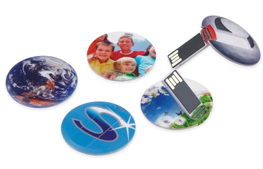 Promotional Mini Round Card Shaped USB Flash Memory with Keychain (CC010)
