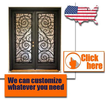 Cheap Price Wrought Iron Door Glass