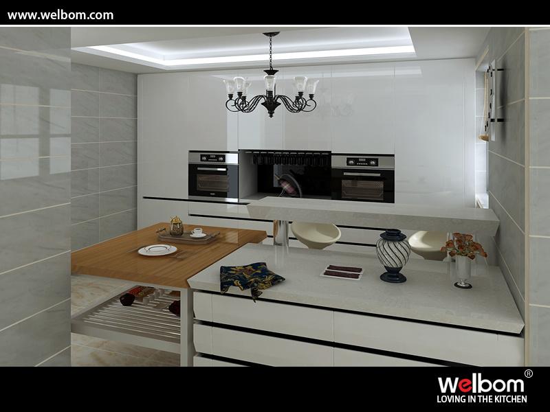 China automatic gloss lacquer kitchen cabinet with rgb led for Automatic kitchen cabinets