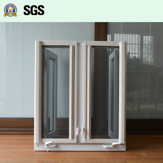 White UPVC Casement Window with Crank Lock, Roller Screen K02055