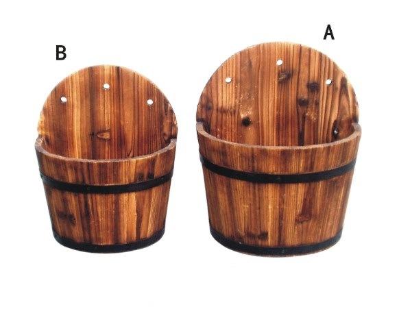 Large Burnt Wood Barrel Planter Rustic Wooden Barrel