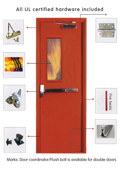 American Standard Steel Door Fire Door with High Quality UL Cretified Safety Door