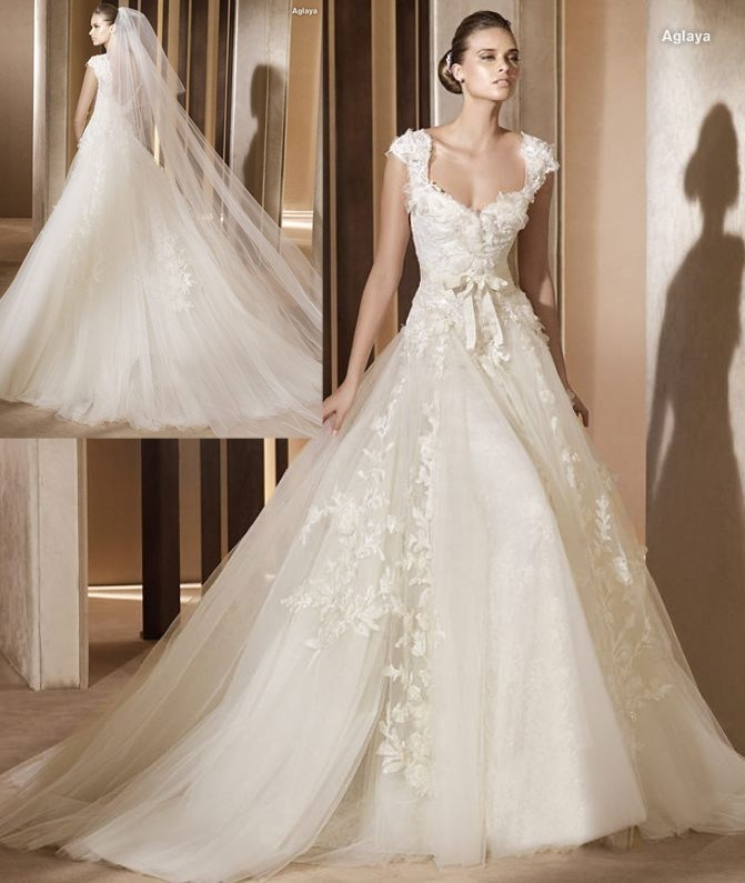 China sweat heart neckline sleeves tulles with big train Wedding dress 101