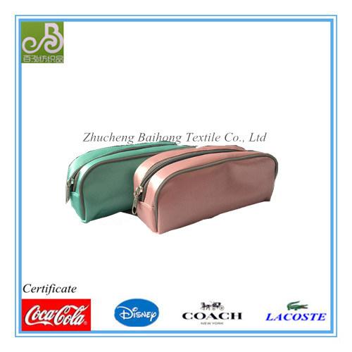 Satin Fabric with Puff PVC Cosmetic Bag/ Pencil Bag