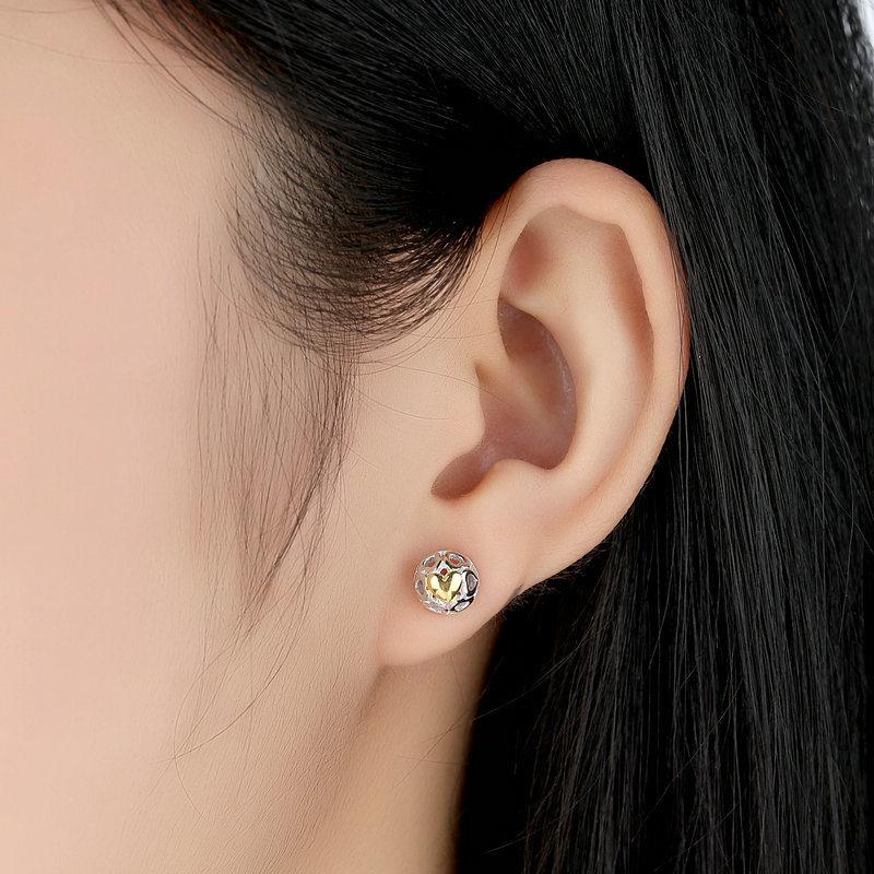 Women Heart Silver Stud Earrings Fine Jewelry