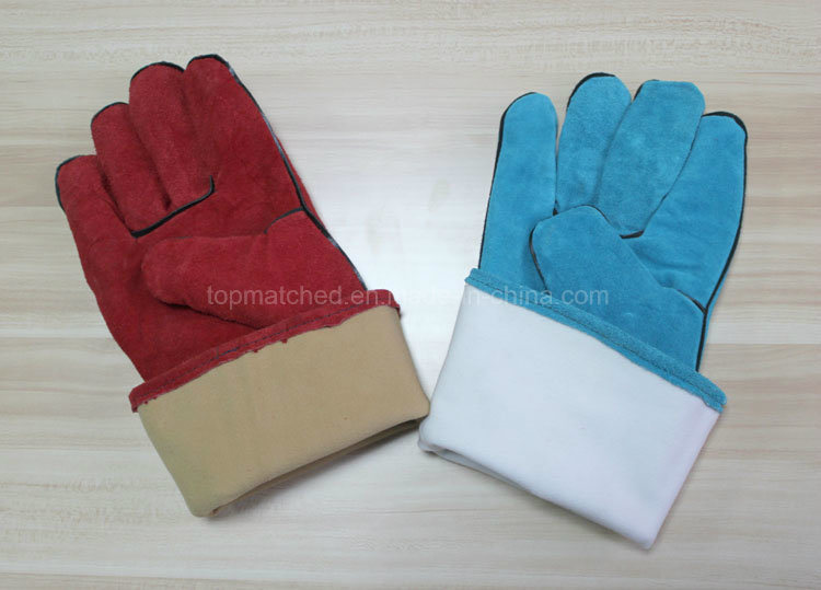 14′′ Full Cow Split Leather Gloves Industrial Safety Labor Protective Welding Work Gloves
