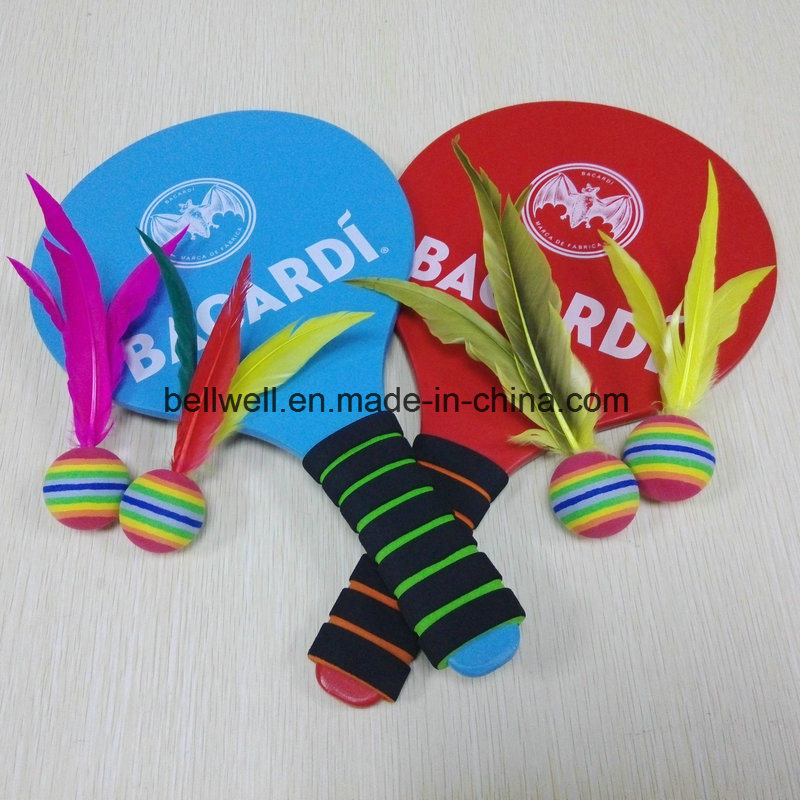 Promotion Gift Play for Fun in Four Seasons Wood Badminton Racket with 4PCS Replacement Feather Birdies