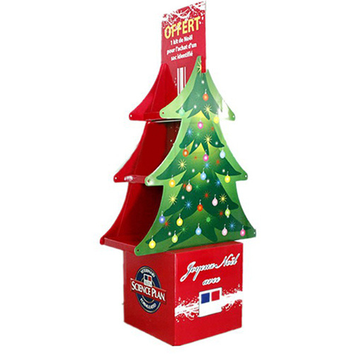 Promotional Christmas Tree Corrugated Cardboard Shelves Display Stand