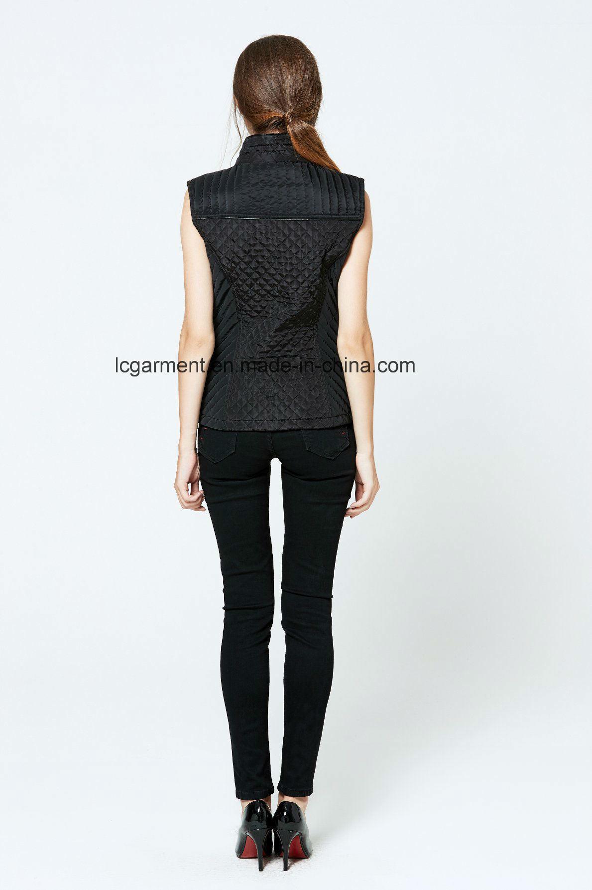 Fashionable Style Winter Slim Fit Leather Vest Zipper Black Waistcoat