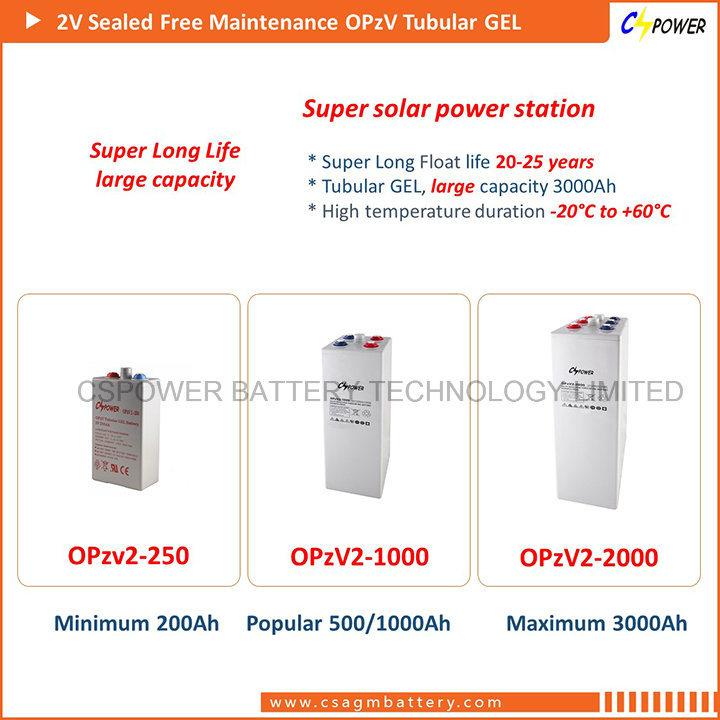 Cspower Tubular Plate Opzv Gel Solar Battery 2V 1000ah