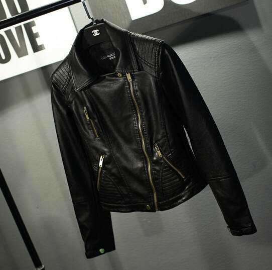 Women′s Leather, PU Leather Short Jacket, Fashion Clothing