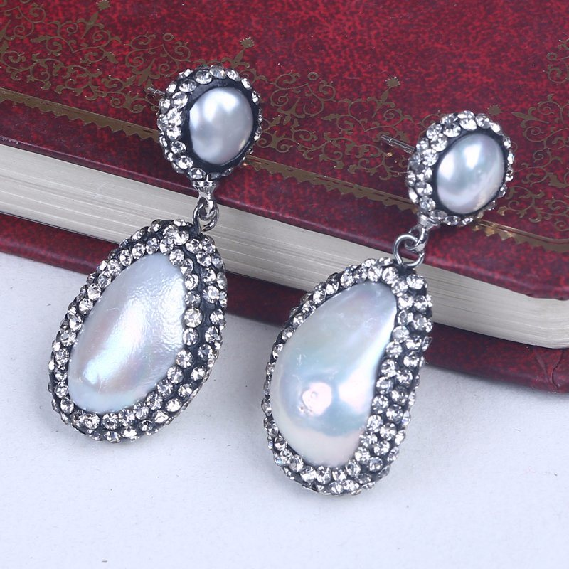 Crystal Paved Freshwater Baroque Pearl Stud Earrings