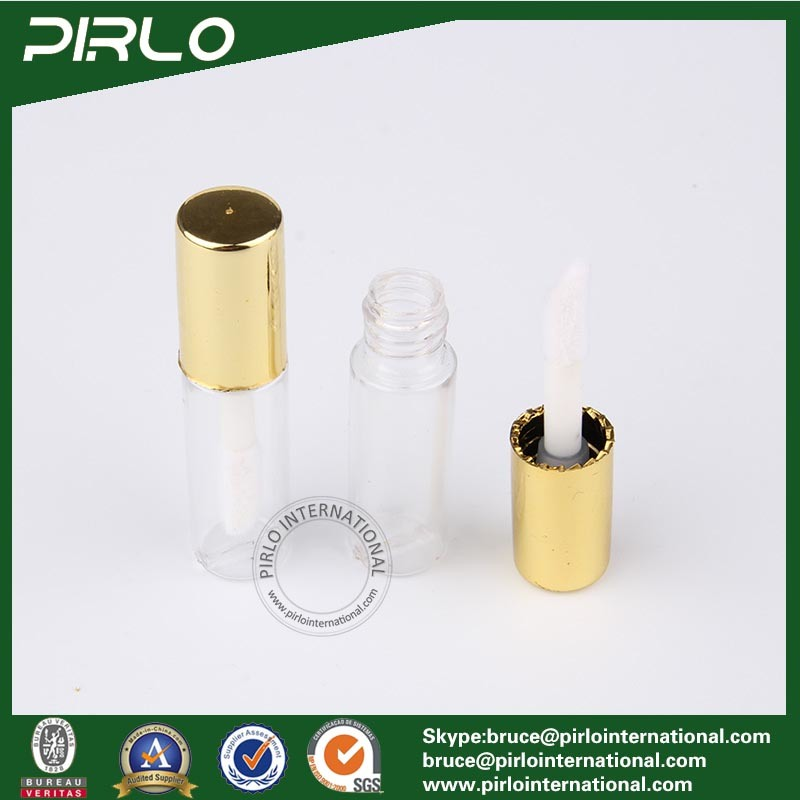 1ml 1g Mini Plastic Lipstick Tube for Lipstick Lip Balm Sampler Lipstick Tube with Brush and Gold Cap
