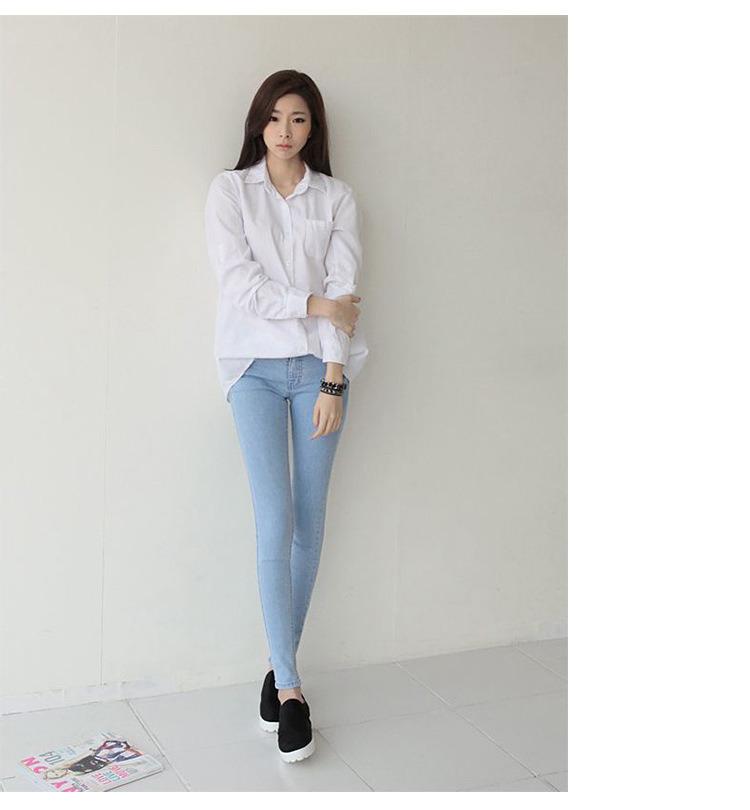 Fashion Ladies Casual Jeans Light Blue Lady Fashion Denim Jeans