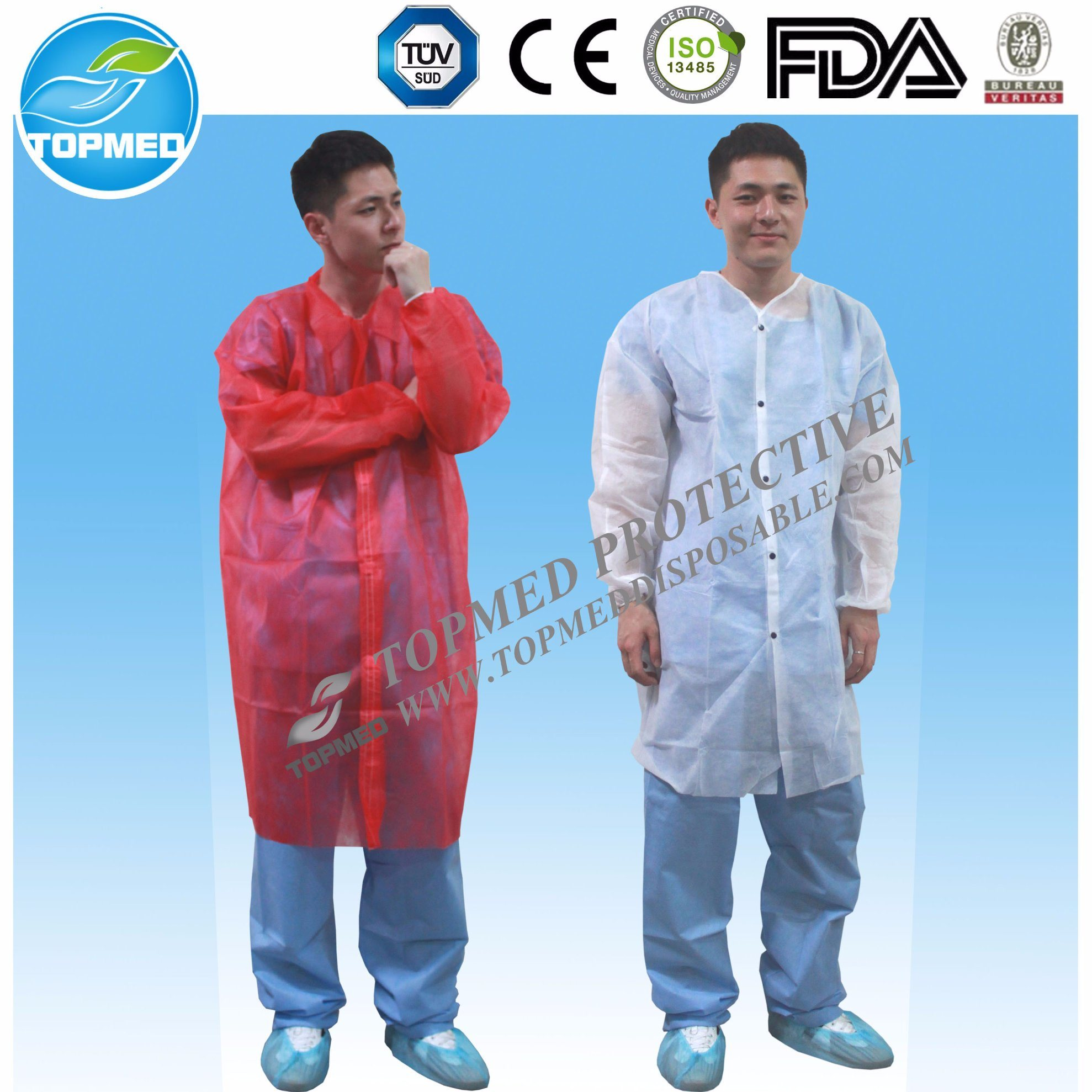 Nonwoven Lab Coat, Cheap Disposable Lab Coat with Factory Price