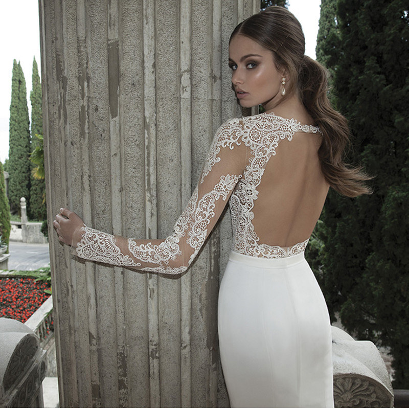 2017 Elegant Lace Keyhole Back Long Sleeves Bridal Dress (Dream-100006)