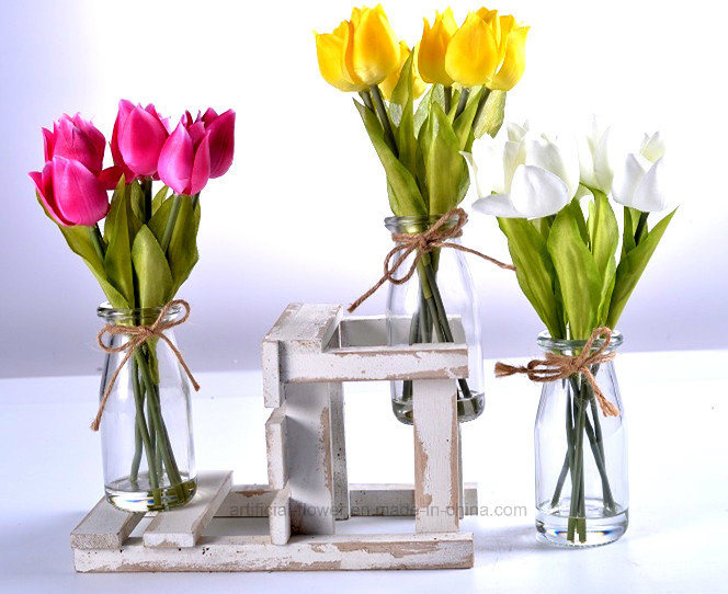 Vivid Artificial Tulip in Glass with Faux Water for Any Public Decoration