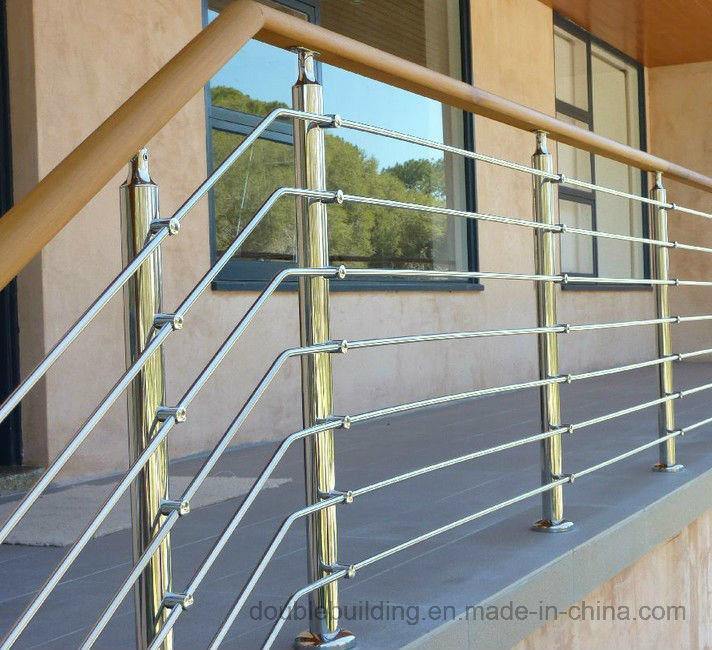 Exterior Wood Handrail Stainless Steel Metal Stair Railing