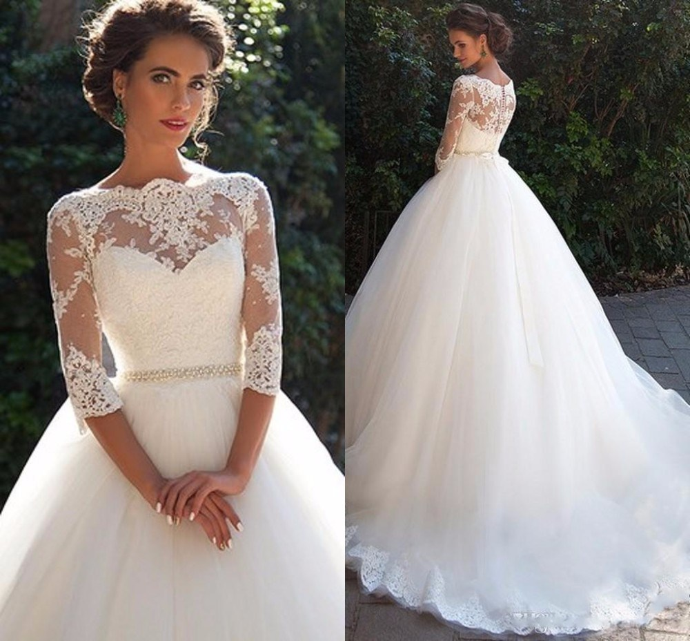 3/4 Lace Sleeves Wedding Dress Puffy Tulle Bridal Ball Gown G1726