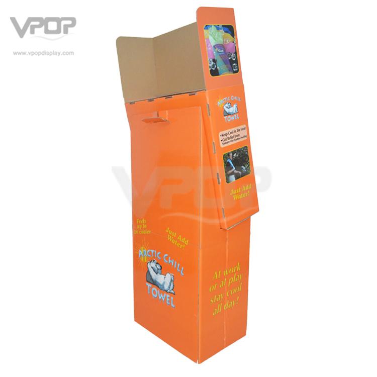 4 Compartments Cardboard Floor Display Rack for Towel